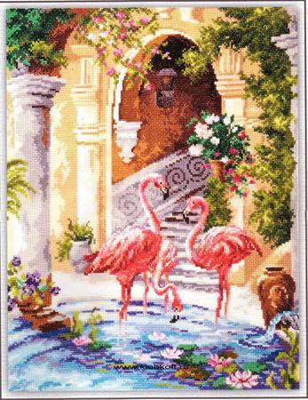 Схемы вышивка розовый фламинго
